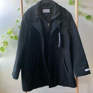 Calvin Klein Coleman Black Wool-Blend Overcoat 46R